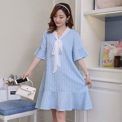 胖妹妹连衣裙夏大码宽松显瘦A字裙中长款荷叶袖小清新条纹娃娃裙