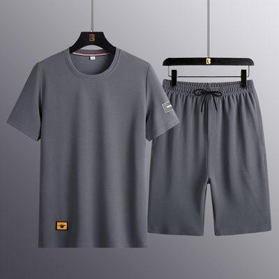 夏季短袖套装男士T恤休闲运动薄款夏天潮流爸爸装青中老年人男装