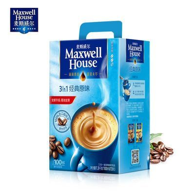 麦斯威尔咖啡经典原味三合一速溶咖啡粉100条装礼盒装1300g