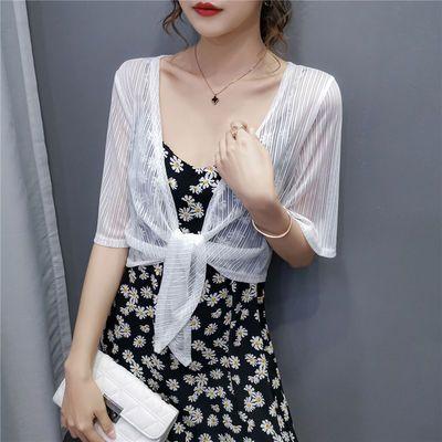 夏季冰丝清凉网纱配吊带裙的小披肩薄防晒衣短款大码百搭开衫外套