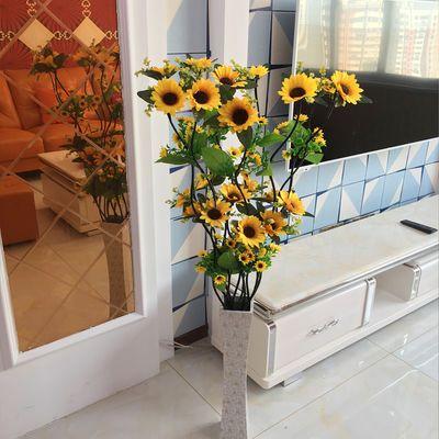 新款仿真太阳花 假花客厅装饰干花 仿真向日葵永生花绢花落地摆设