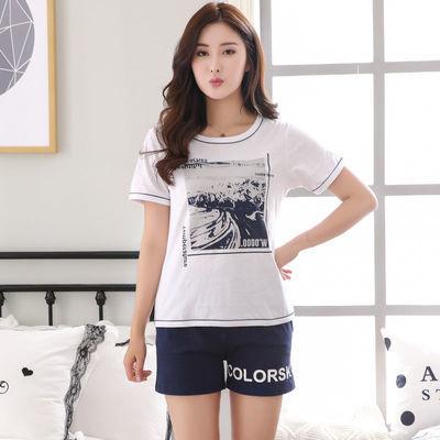夏季胖妹妹睡衣女夏短袖宽松学生可爱韩版200斤加大码家居服套装