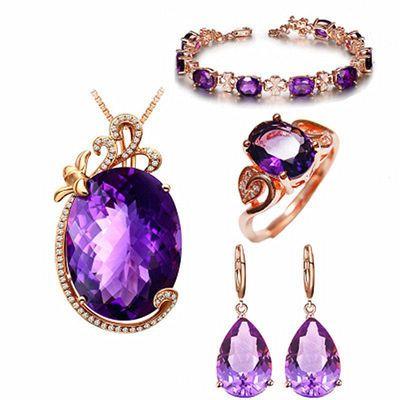 【紫水晶】奢华光泽靓丽吊坠项链女活口戒指耳钩耳扣手链银饰套装