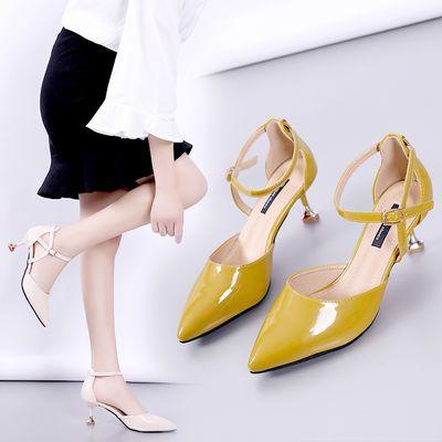 韩版2019夏新款尖头漆皮细跟高跟凉鞋中跟包头一字扣性感显瘦女鞋