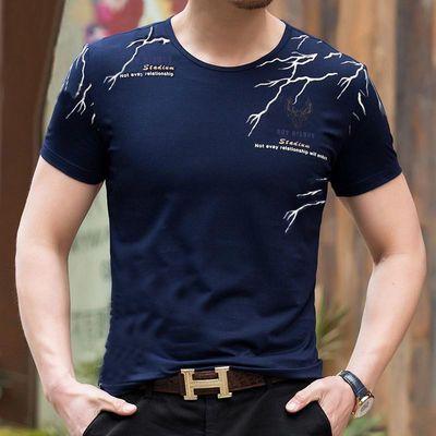 爸爸装短袖t恤男中年40-50岁圆领纯棉中老年人宽松薄款夏装宝蓝色