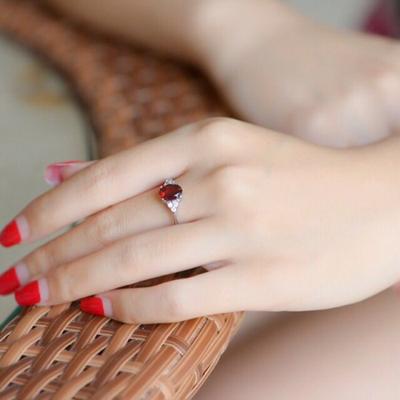 天然石榴石戒指女925银开口日韩潮人简约指环饰品红宝石戒指