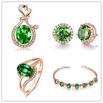 【套装等于送戒指】奢华天然绿碧玺项链女水晶宝石吊坠戒指耳钉