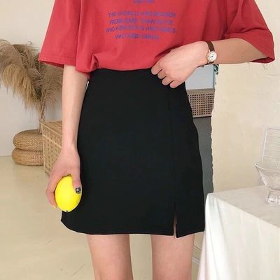 2020夏季新款韩版高腰显瘦A字裙开叉学生包臀裙百搭半身短裙女