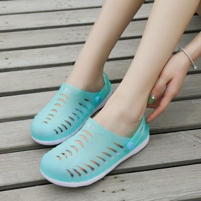 沙滩鞋洞洞鞋女包头凉鞋女学生韩版防滑凉拖鞋女夏外穿果冻鞋女鞋