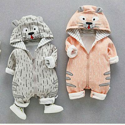 宝宝婴幼儿连体衣纯棉秋季新款卡通童趣动物造型爬服亲肤保暖耐磨