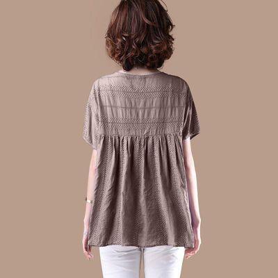 高含棉文艺刺绣镂空娃娃衫2020夏季新款宽松休闲短袖紫色T恤女