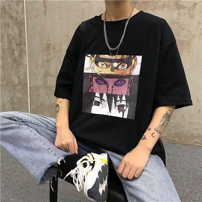 夏装新款动漫火影忍者短袖T恤原宿风男女情侣衫宽松短袖上衣服潮