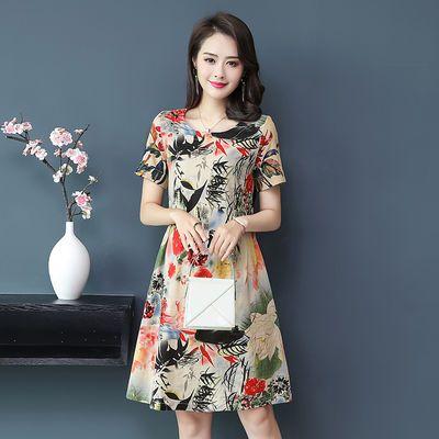 新款年轻妈妈装韩版连衣裙女夏装宽松中长裙子女大码中老年女装