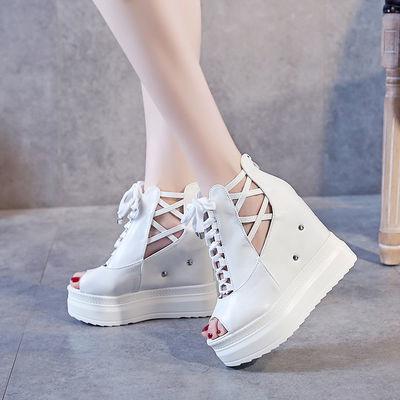 2020韩版镂空鱼嘴鞋12cm春夏新款松糕厚底坡跟女鞋潮内增高跟凉鞋