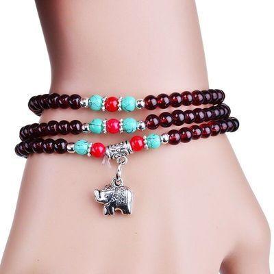 水晶多层三圈佛珠手串酒红石榴石手链创意民族风情侣手链饰品