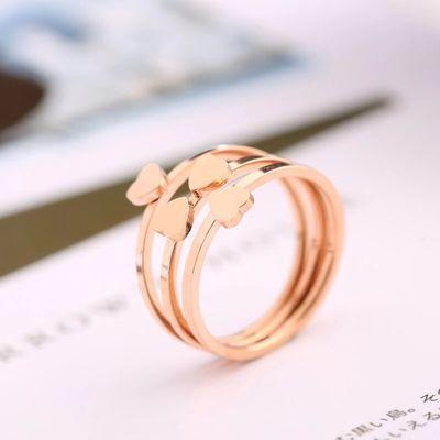 四叶草关节戒指女组合套装学生韩版简约镀玫瑰金个性时尚闺蜜礼物