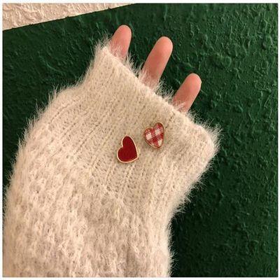 韩国少女原宿格子丝绒可爱心形耳钉桃心小巧气质耳环耳夹