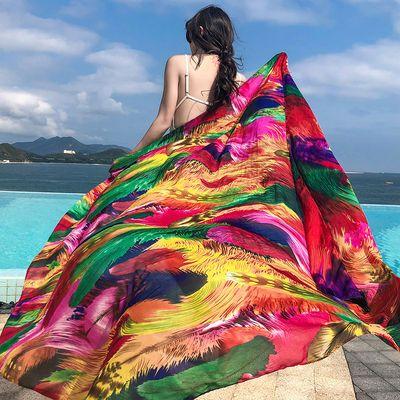 披肩女夏百搭海边沙滩巾丝巾外搭防晒夏季韩版民族风超大围巾纱巾