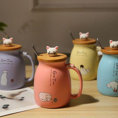 杯子女学生韩版可爱萌萌马克杯猫咪杯带盖勺陶瓷杯牛奶咖啡早餐杯