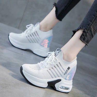 网面小白鞋女2020夏季新款透气网鞋休闲百搭厚底内增高运动老爹鞋