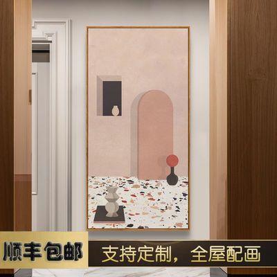 复兴理想国 莫兰迪装饰画现代玄关走廊过道巨幅挂画粉色ins建筑