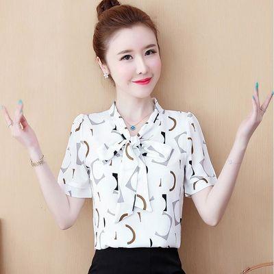 雪纺衫女短袖2020春秋新款韩版时尚修身气质v领上衣打底衫女夏装