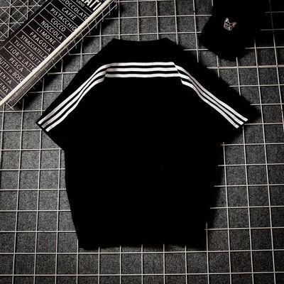 2020夏季条纹运动短袖T恤男宽松大码休闲半袖韩版潮流纯棉体恤tee
