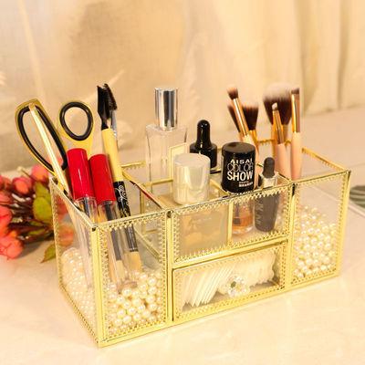北欧ins化妆品指甲油收纳盒网红桌面置物架玻璃刷桶化妆盒口红盒