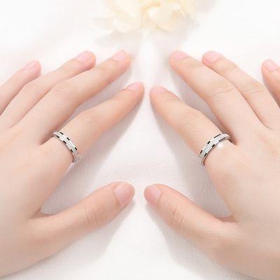 情侣戒指女纯银一对日系轻奢磨砂素圈对戒ins简约个性时尚男戒潮