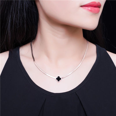 欧美镀18玫瑰金圆牌项链女学生韩版简约钛钢彩金蛇骨时尚锁骨链