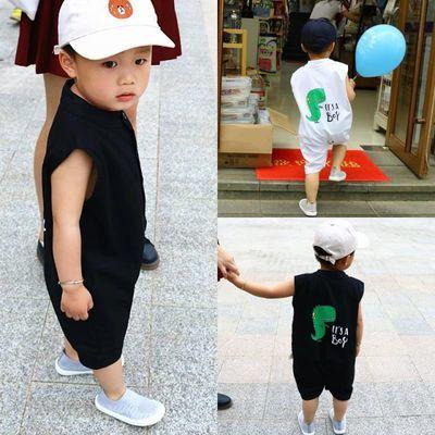 春夏2男童韩国特色童装潮服哈衣男宝宝连体衣1岁小童洋气衣服夏季