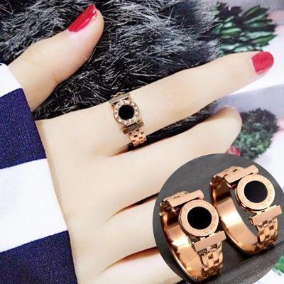韩版简约罗马数字黑面食指戒指时尚钛钢镀玫瑰金空心格戒指指环女