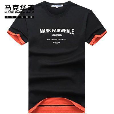 马克华菲短袖t恤男2020夏季新款刺绣印花纯棉黑色撞色男装上衣潮