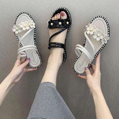 39744/女夏两穿平底凉拖2021新款夏季时尚外出拖鞋百搭两用外穿学生凉鞋