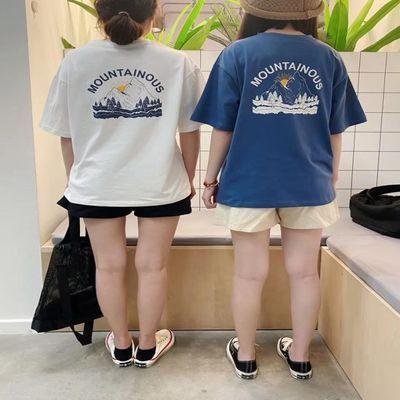 日系简约 ins风山峰印花圆领短袖套头T恤上衣 少女学生夏棉质Tee