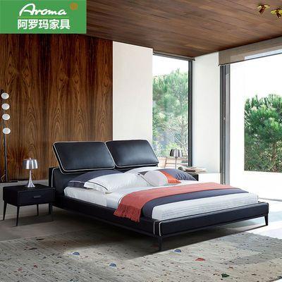北欧轻奢皮床简约现代主卧婚床 网红真皮实木床1.8米双人大软包床
