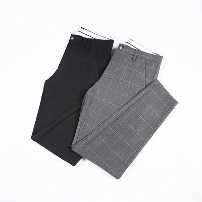 裤子男春夏款修身男裤弹力九分条纹小脚西裤男韩版潮流长裤格子裤