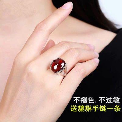 玛瑙红宝石红玉髓绿玉石水晶翡翠蜜蜡银戒指女开口活口不掉色钻韩