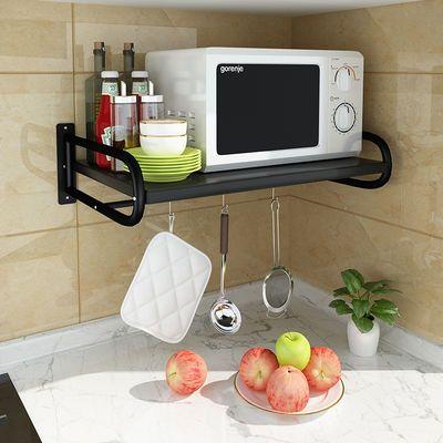黑色多功能厨房微波炉置物架壁挂式2层烤箱架子调料收纳用品挂架
