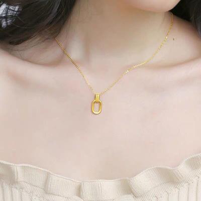 新款古法环环相扣复古几何双环镀金项链吊坠送搭配磨砂素圈戒指