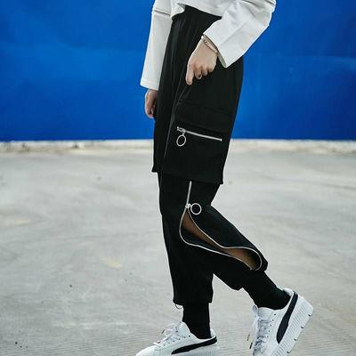 装潮牌束脚工装裤bf风学生嘻哈社会宽松小脚哈伦休闲运动裤春季女
