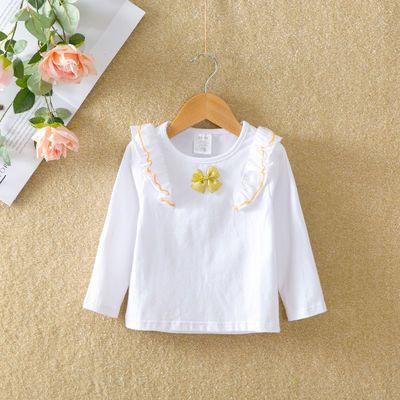 全棉宝宝衬衫白色长袖秋季衣服婴儿娃娃领春秋装女童打底衫儿童装