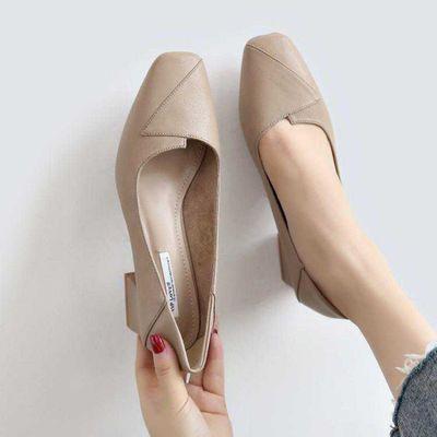 软皮秋季新款粗跟女单鞋中跟浅口高跟鞋女韩版职业5cm 百搭奶奶鞋