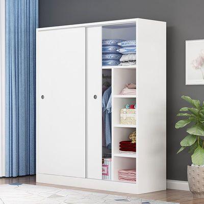 衣柜实木简约现代板式移门推拉门成人简易储物柜出租房收纳柜卧室