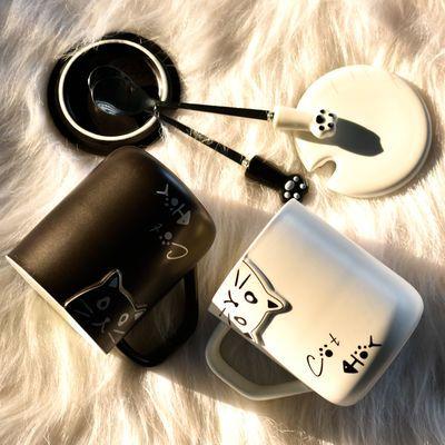 情侣款水杯子陶瓷猫咪创意个性潮流简约家用一对咖啡马克杯带盖勺