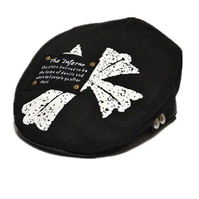 儿童贝雷帽春秋男童帅气潮帽新款宝宝刺绣鸭舌帽子小孩英伦牛仔帽