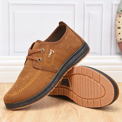 潮流男士帆布鞋春秋款休闲工作单鞋软底防滑中老年爸爸保暖冬棉鞋