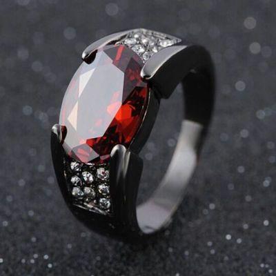 一航家热卖银镀黑枪色黑金戒指 镶嵌红宝石指环 新款男女情侣戒指