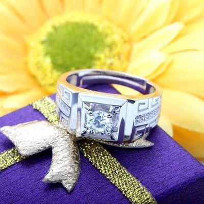 男士款性霸气戒指高端品味银戒指韩版个性男士戒指开口礼物