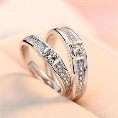 金嘉华银结婚戒指女 情侣戒指开口创意镶锆石水晶指环现货